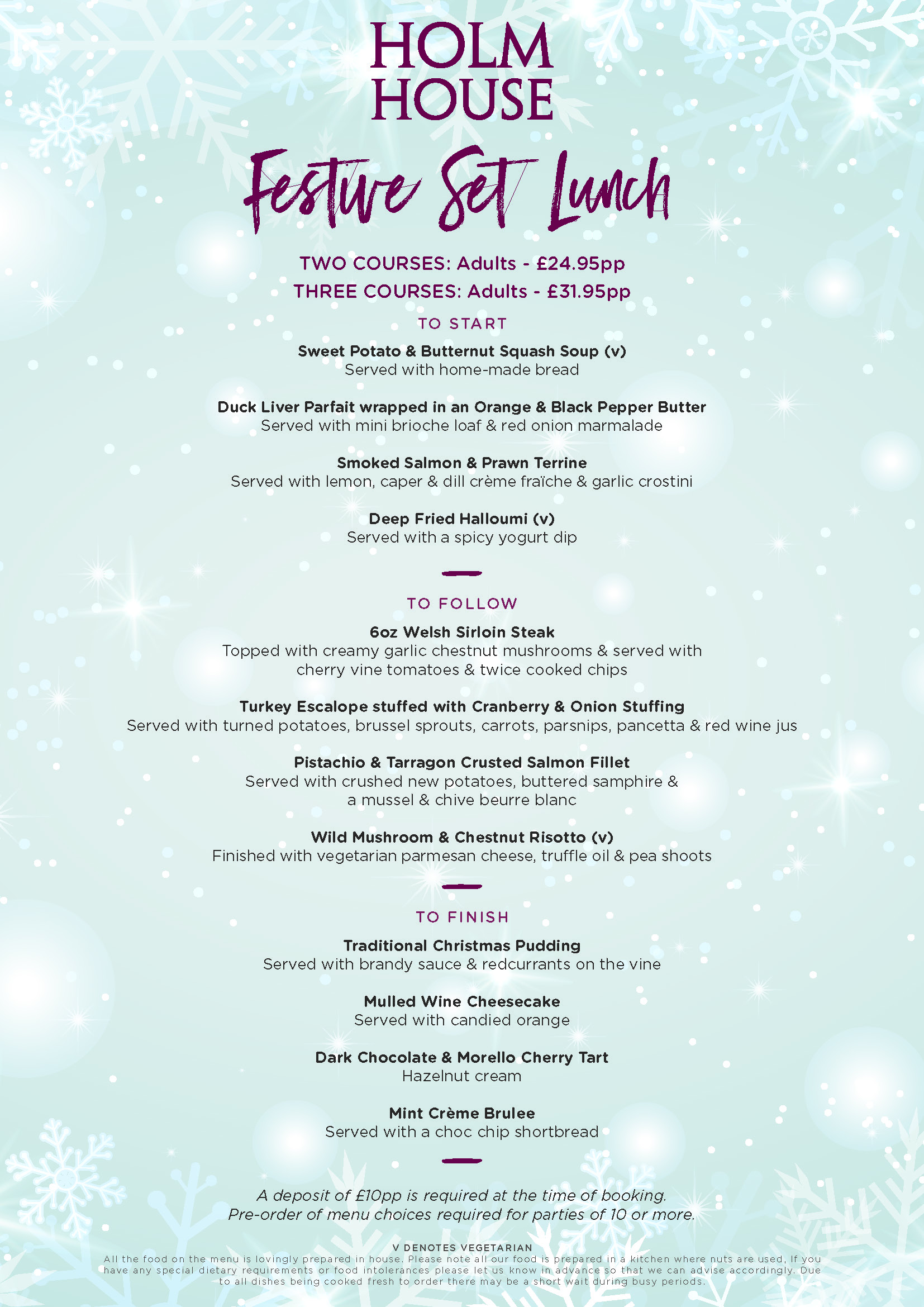 Festive Set Lunch Menu